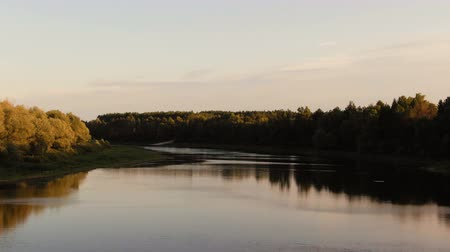 curso : Desna River with forest. Aerial view. sunset
