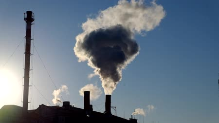 climate : Chimney with smog backlit footage.