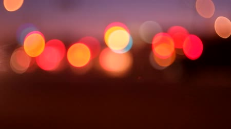 night scene : Night traffic flikering lights bokeh moving footage full hD