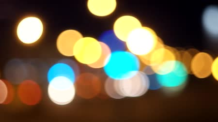 blue and yellow : Night traffic flickering lights Stock Footage