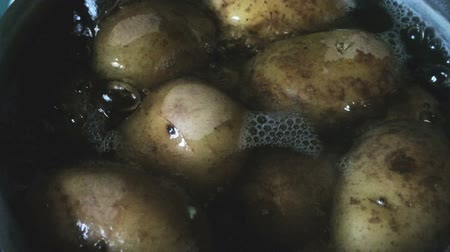 ve slupce : New potatoes simmering in boiling water