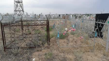 astrakhan : Old historic tombstones in the muslim cemetery.