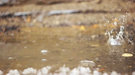 snowbreak : Thawing weather, puddle with splashing water drops Stock Footage
