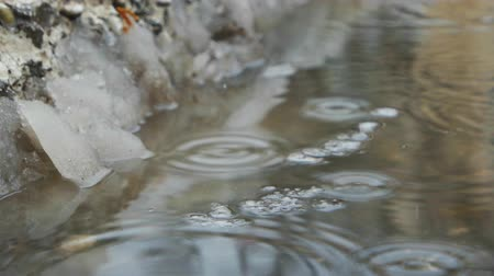 snowbreak : Spring puddle with ice and dropping water. Diagonal composition. Place for text