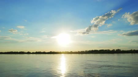 astrakhan : Sunset over a Volga-river near Astrakhan, Russia. Timelapse