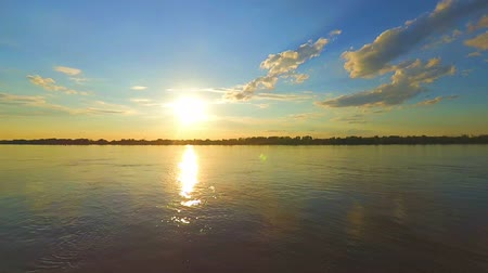 astrakhan : Sun setting. Sunset over a Volga-river near Astrakhan, Russia. Timelapse