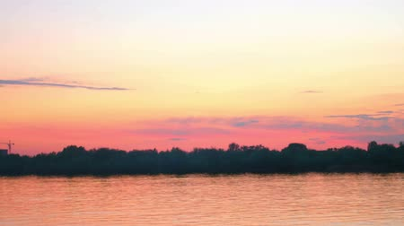 astrakhan : Colorful sunset over river Volga in AStrakhan, RUssia