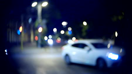 light trails : Moving car with blur light through city at night