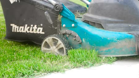 mow : Astrakhan, Russia, 27 of May 2018: Makita-brand Lawnmower at work. Lawn mower on a lawn in the garden
