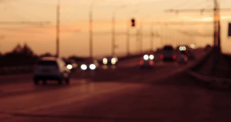 interscambio : hyperlapse of overpass with blurred cars in sunset time of the day Filmati Stock