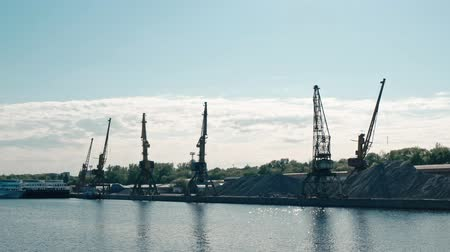 moorage : Moscow, Russia 15 of May 2015: Moscow-river boat trip view at at Old River Port with working cranes. Stock Footage