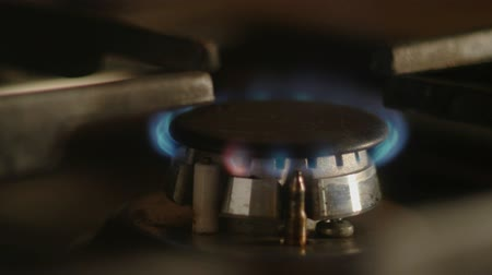 firebox : Gas stove working then turning it off closeup footage 4k