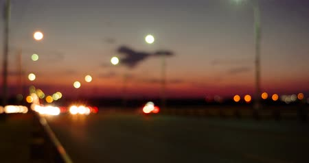 driverless : Sunset traffic on motorway with blurred car lights Stock Footage