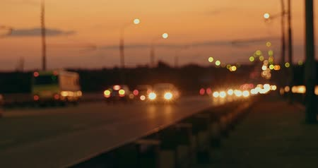 hátsó megvilágítású : Rush hour on motorway in the night, blured lights of commuters cars