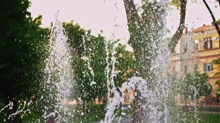 ambientalmente : Fountain in park with trees on background in slow motion, from bottom up to sky move