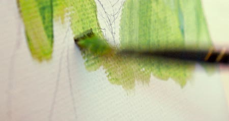 parşömen : Painting on canvas with brush. Macro footage of acrillic art painting. Shallow focus.