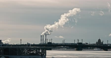fosilní : Pollution of air. Smoking Plant Chimneys In Saint Petersburg in Winter View Over Neva River