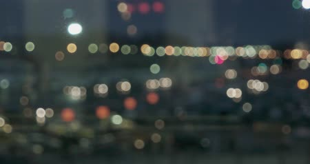 inside bus : Many city lights blurred on the night panoramic shoot Stock Footage