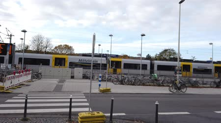 mozdony : Bonn Germany, 06 November 2019: Regular train on UN campus station in Bonn 4k 50fps clip footage