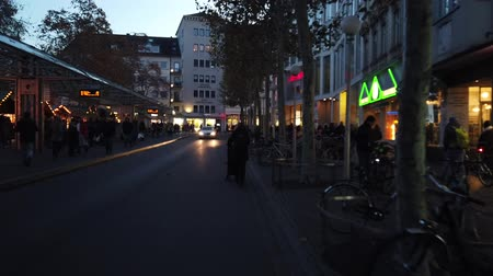 Bonn Germany, 30 November 2019: Hyperlapse street in the center of Bonn City. People walking in the street when christmas Market is taking place