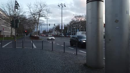 Bonn Germany, circa Dec. 2019: Timelapse of the street riding on the bicycle in the nightfall, cloudy sky 影像素材