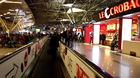 tüketici : Moscow Russia, 18 Dec. 2019: Timelapse of people in Vnukovo Airport on travolators of the 1th floor with Duty Free shops. Stok Video