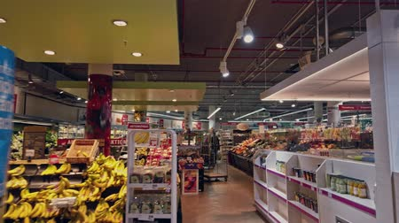 navegar : Bonn, Germany - 14 of Dec., 2019: interior shot of REWE supermarket in Bonn POV view Stock Footage