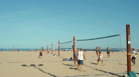 beach volleyball : People at the beach playing volley. Summer Leisure activities at the beach.