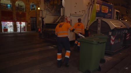 hasznosság : Garbage  collection during  Valencian Festival of Fallas. City garbage collecting crew. Stock mozgókép