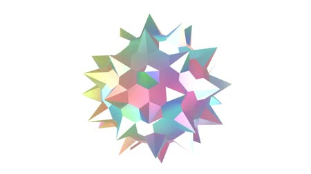 3d animation. Rotating spiked color sphere on a white background.