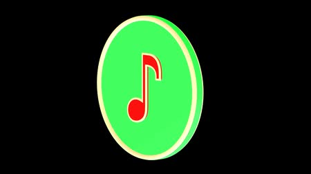 3d animation. A music symbol rotating on a black background.
