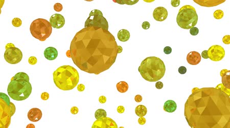 3d animation. Movement of small colored balls isolated on white background.