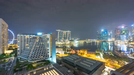 baía : Timelapse Night view over Central Singapore Marina bay.