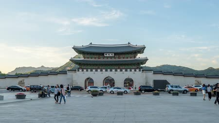 gyeongbok : Time lapse of Gwanghwamun gate of Gyeongbokgung Palace in Seoul, Korea.  tilt down