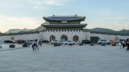 gyeongbok : Time lapse of Gwanghwamun gate of Gyeongbokgung Palace in Seoul, Korea.  tilt up