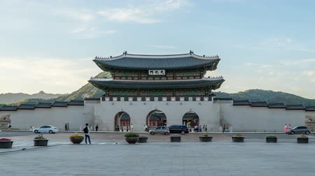 gyeongbok : Time lapse of Gwanghwamun gate of Gyeongbokgung Palace in Seoul, Korea.  Zoom in