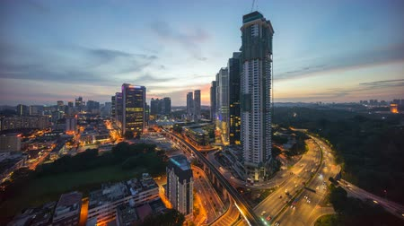 capital cities : Day to night time lapse of Kuala Lumpur downtown scene. Stock Footage