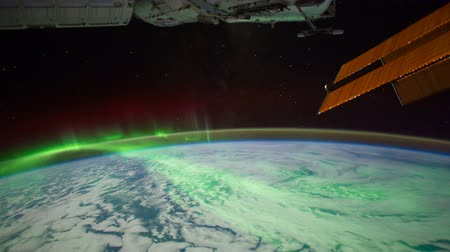 stratosphere : International Space Station (ISS) Heading Towards Aurora Australis Stock Footage