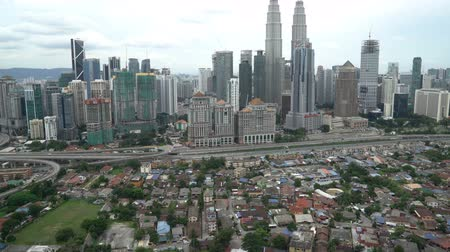 drone : Aerial View Of Kuala Lumpur City In Malaysia Capital, Tall Buildings. Cinematic 4k b-roll footage
