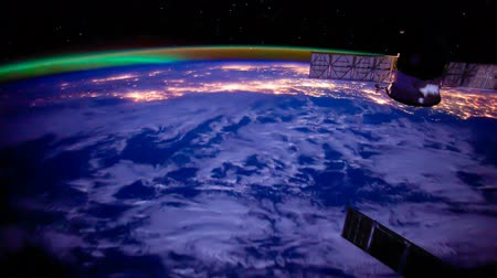 solar : Planet Earth seen from the International Space Station with Aurora over the earth, Time Lapse 4K. Stock Footage