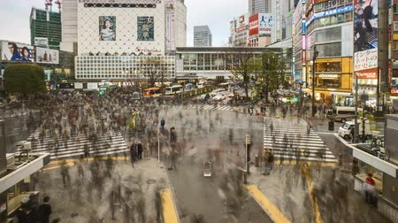 commute : Time lapse of Shibuya crossing, Tokyo. Zoom out