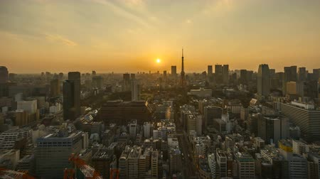 tilt : 4k time lapse of day to night sunset scene at Tokyo city skyline with Tokyo Tower. Tilt up Stock Footage