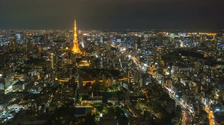 tokio : 4k time lapse of night scene at Tokyo city skyline. Wideo