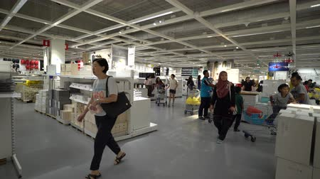 ikea : Damansara, Malaysia - September 1, 2018: 4k UHD b-roll footage of people visiting and shopping at Ikea Malaysia, Damansara branch. Stock Footage