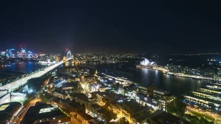 balsa : 4k UHD time lapse of night scene at Sydney city skyline, aerial view. Pan left