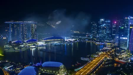 Time lapse of fireworks show at Singapore Marina Bay. Zoom out