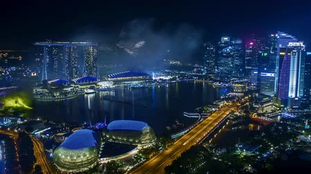 Time lapse of fireworks show at Singapore Marina Bay.