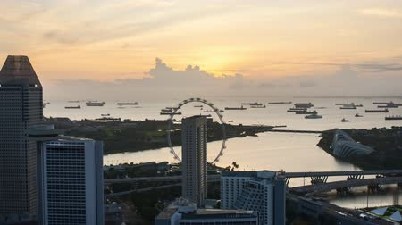 Time lapse of sunrise at Marina Bay Singapore. Zoom in