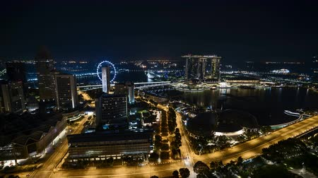 Time lapse of night scene at Singapore city. Vídeos