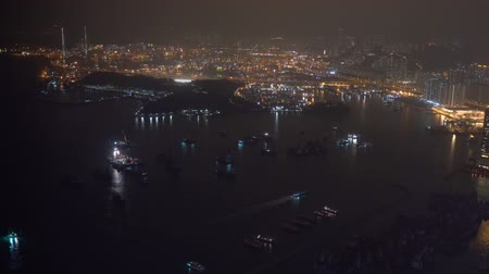 iso : Establishing b-roll cinematic shot of night scene at Hong Kong city, aerial view. Clip may contain noise due to low light and high ISO setting.